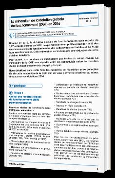 La minoration de la dotation globale de fonctionnement (DGF) en 2016